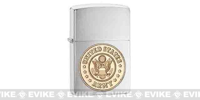 Zippo Classic Lighter - U.S. Army Emblem  (Brushed Chrome)