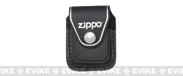 Zippo Lighter Pouch with Metal Clip - Black Leather