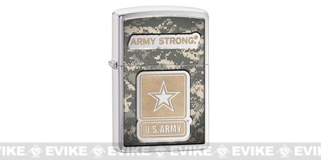 Zippo Classic Lighter Patriotic Series (Model: Army Strong / Brushed Chrome)