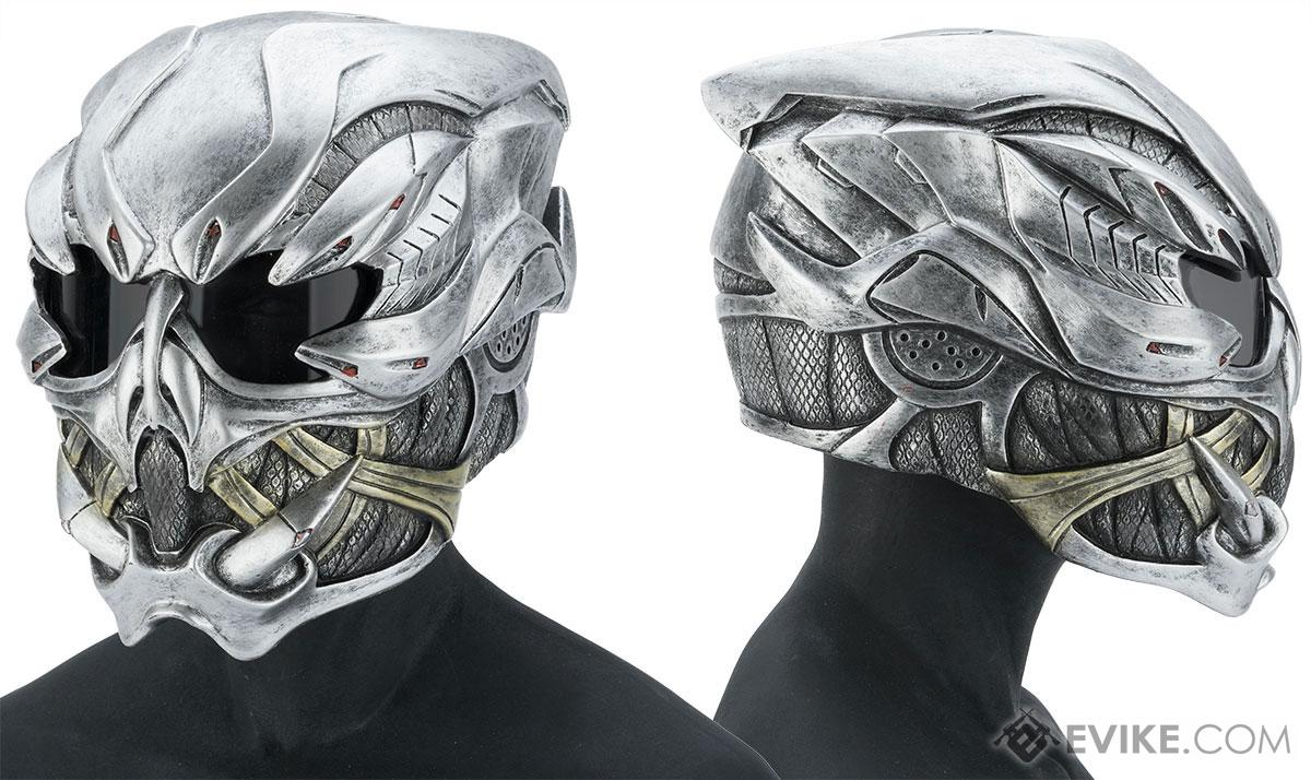 Evike.com R-Custom Fiberglass  Crysis Gunner Full Face Helmet with Grey Lens (Color: Silver)