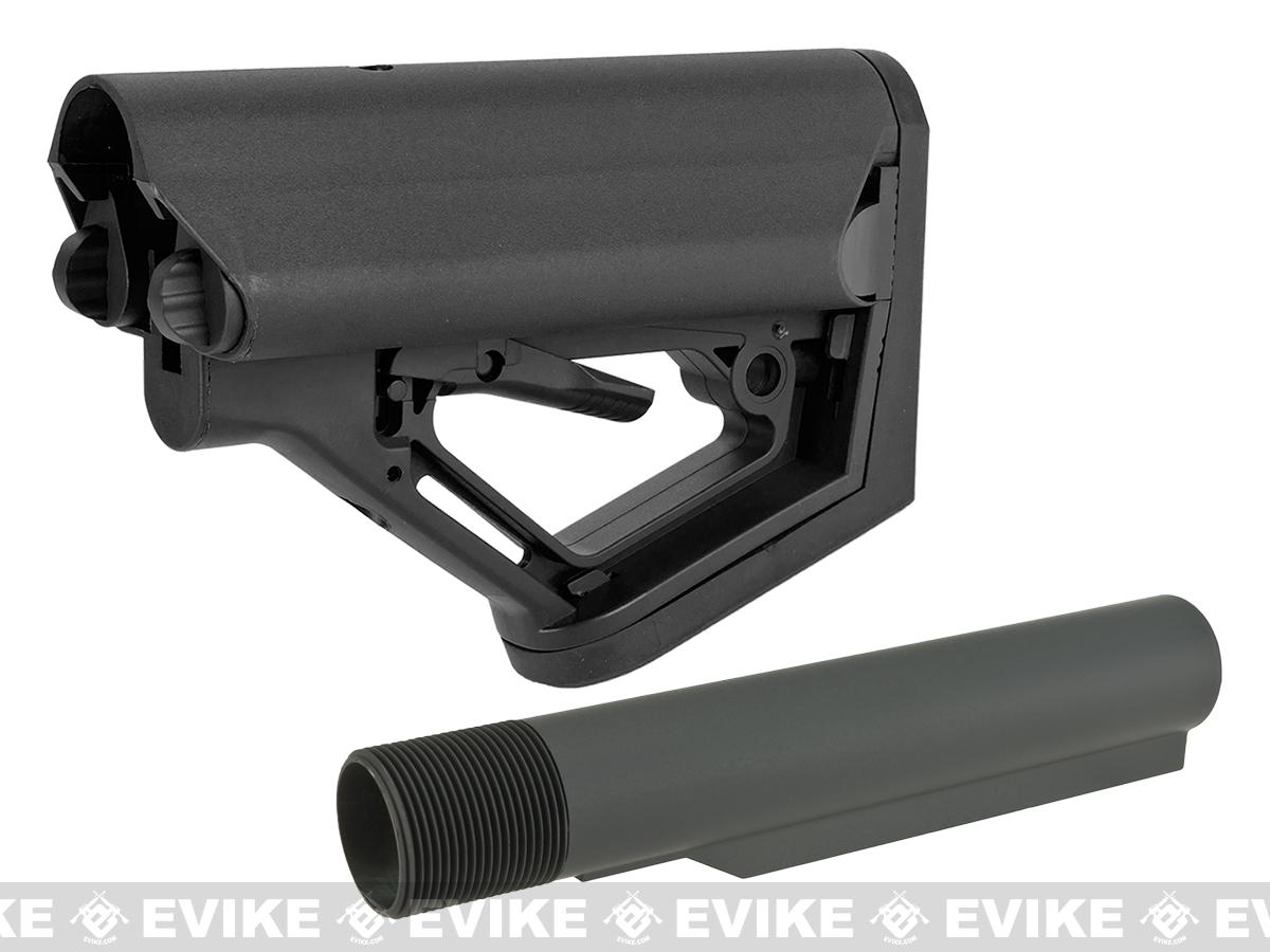 6mmproShop CTS Carbine Battery Stock for M4 M16 Series Rifles (Model: Black / Stock + GBB Buffer Tube)