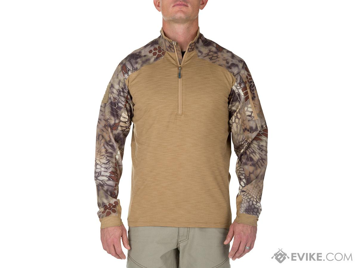 z 5.11 Tactical Rapid Half Zip Combat Shirt with Kryptek Sleeves - Coyote (Size: Large)