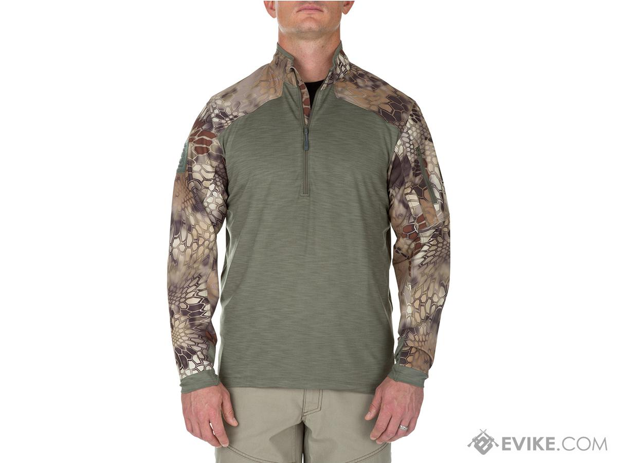 5.11 Tactical Rapid Half Zip Combat Shirt with Kryptek Sleeves - Sage Green (Size: Medium)