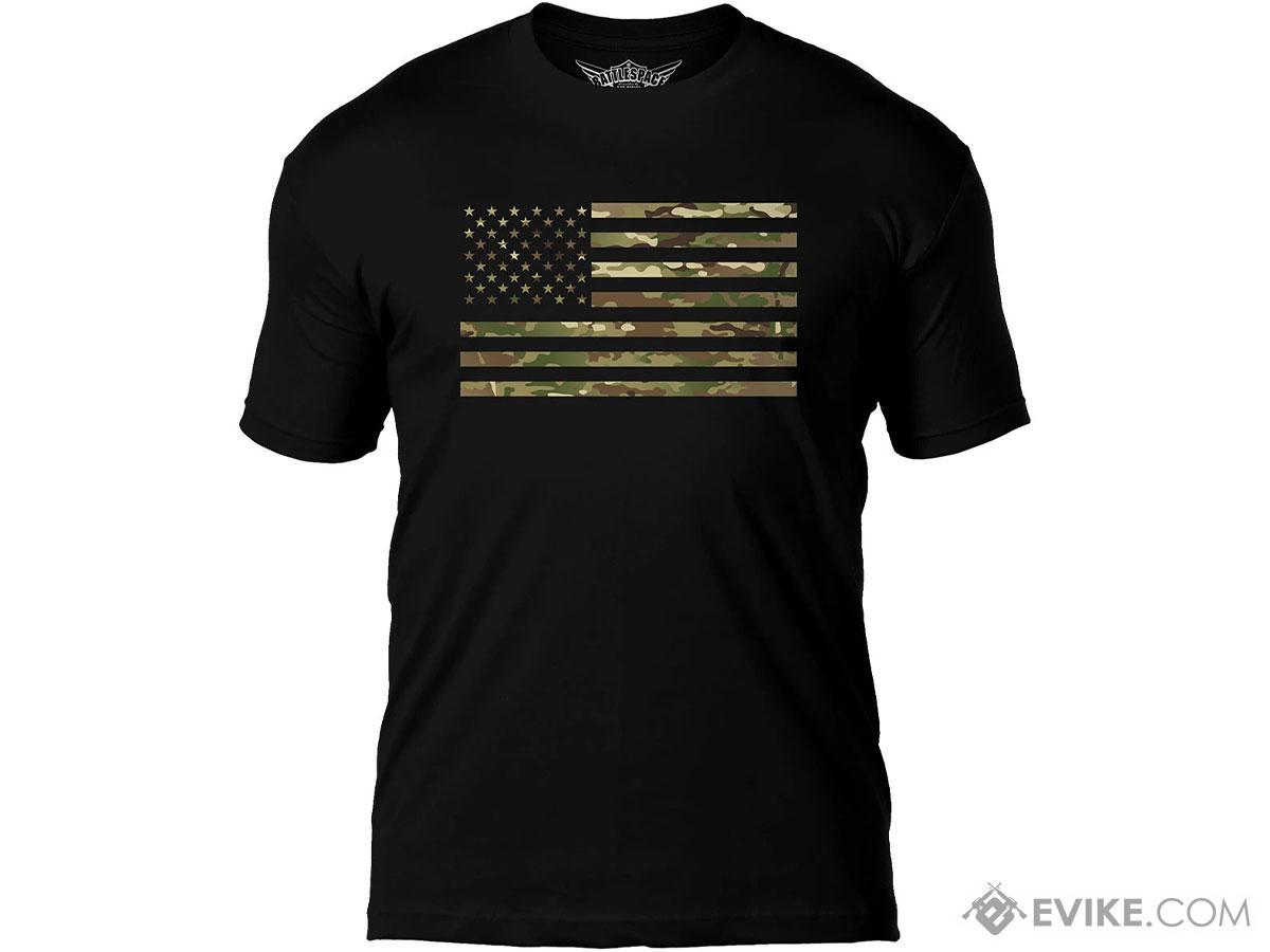 7.62 Designs Flag Battlespace Premium Men's Patriotic T-Shirt (Size: Medium / Camo Print)