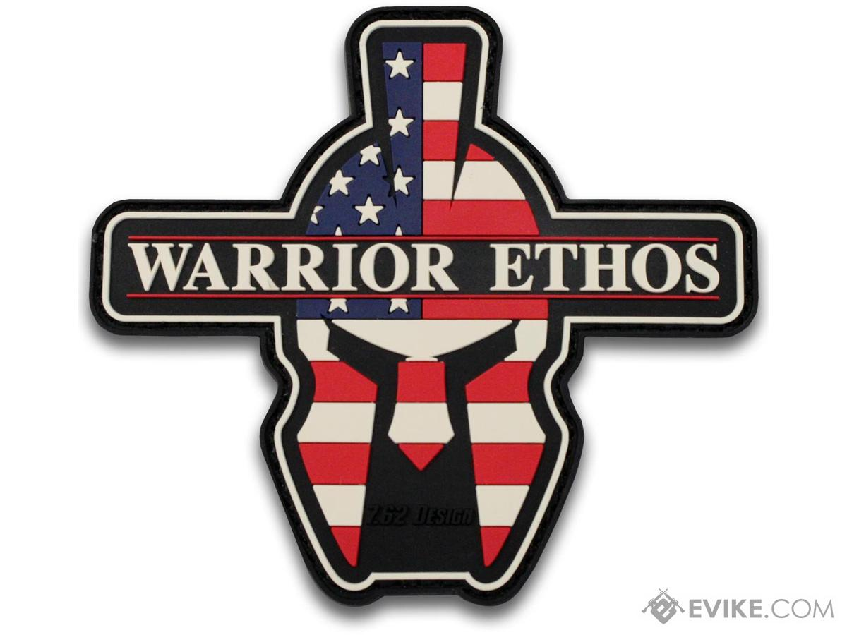 7.62 Designs PVC Warrior Ethos Hook and Loop Morale Patch (Color: Red White and Blue)