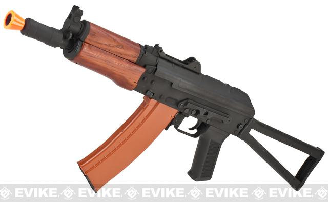 Full Metal AKS-74U / AK-74 Airsoft AEG Rifle with Real Wood Furniture by CYMA - (Package: Add Battery + Charger)