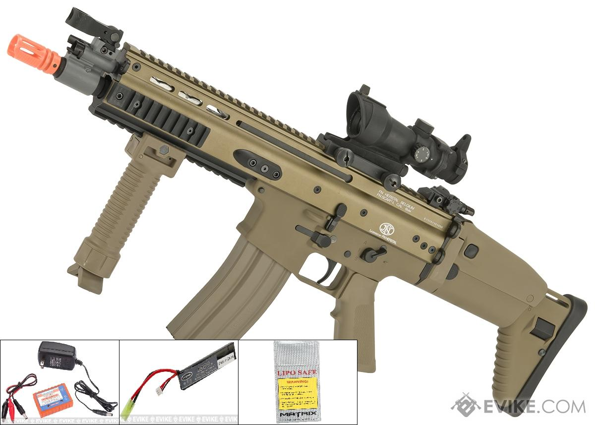 FN Herstal Licensed Full Metal SCAR CQB Airsoft AEG Rifle by G&G (Package: Tan / Add 7.4v LiPo Battery + BMS Charger + LiPo Safe)
