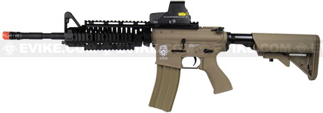 Evike Custom Class I G&G Blowback Full Length Carbine Combat Machine Airsoft AEG - M1 RIS Tan (Package: Gun Only)