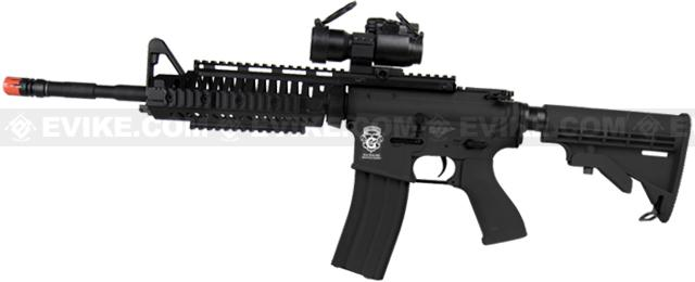 z Evike Custom Class I G&G Blowback Full Length Carbine Combat Machine Airsoft AEG - M1 RIS Black (Package: Gun Only)