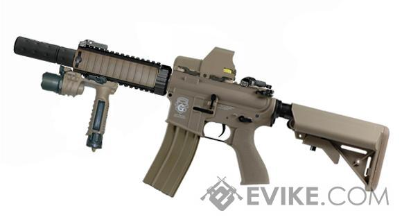 G&G Combat Machine Blowback M4 CQB-R AEG w/ Mock Suppressor (Package: Tan / Add 9.6 Butterfly Battery + Smart Charger)