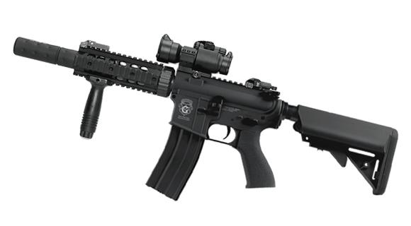 G&G Custom Blowback M4 CQB-R Combat Machine AEG w/ Mock Suppressor (Package: Black / Rifle)