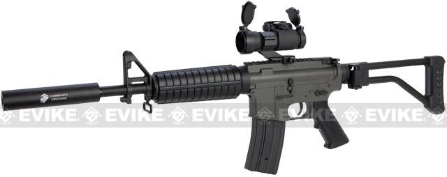 JG M4 Commando Airsoft AEG Rifle w Skeleton Side Folding Stock (Color: Black)