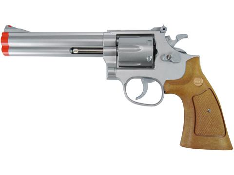 UHC 686  Heavy Weight Spring Powered Airsoft Revolvers (Length: 6 / Silver with Imitation Wood Grips)