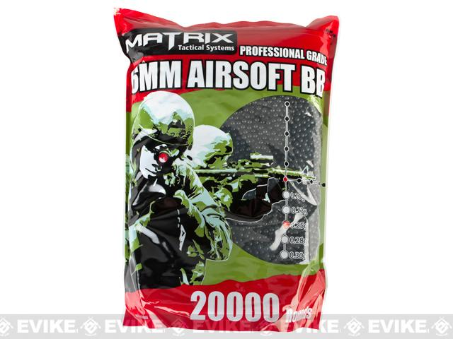 0.25g Match Grade 6mm Airsoft BB Bulk Buy Bag by Matrix (Color: Black / 20,000 rounds)