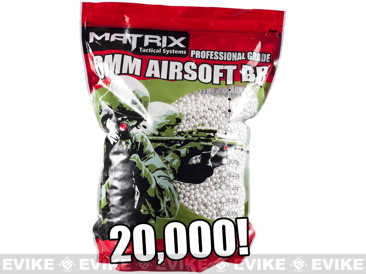 0.25g Match Grade 6mm Airsoft BB Bulk Buy Bag by Matrix (Color: White / 20,000 rounds)