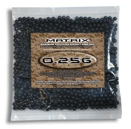 Matrix Match Grade 6mm Airsoft BBs (Weight: .25g / 1000 Rounds / Black)