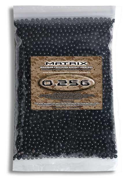 0.25g Match Grade 6mm Airsoft BB by Matrix - Black (QTY: 1 Bag / 2,000 Rounds)