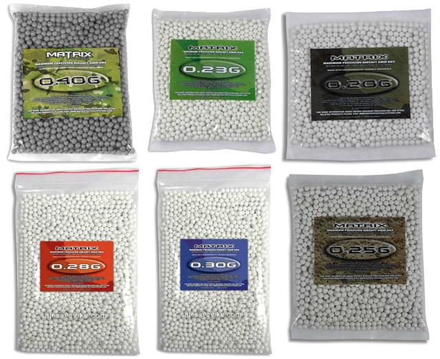 0.20g - 0.40g Sniper Airsoft 6mm BB Sampler Package by Matrix