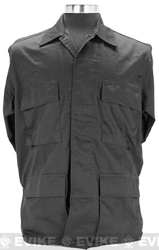 55/45 Cotton Poly Twill BDU Jacket - Black (Size: Large)