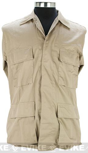 55/45 Cotton Poly Twill BDU Jacket - Khaki (Size: Medium)