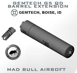 Madbull Gemtech QD Mock Suppressor Barrel Extension with Flashhider (Color: Black)