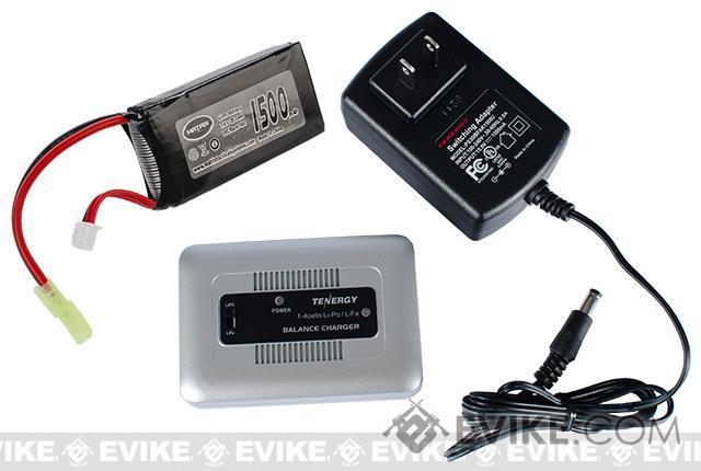 AEG LiPo Battery Starter Package w/ Smart Charger & LiPo SAFE (Battery: 7.4v 1500mAh PEQ Type)