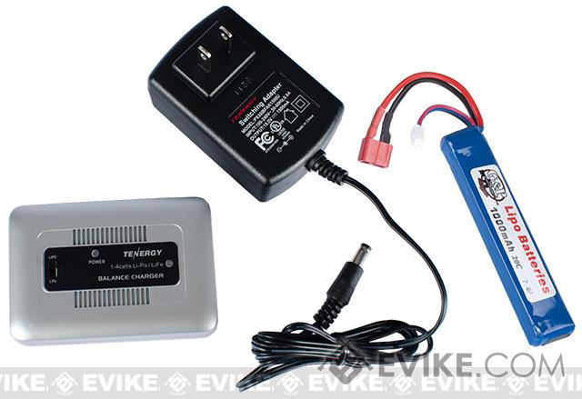 AEG LiPo Battery Starter Package w/ Smart Charger & LiPo SAFE (Battery: 7.4v 1000mAh Deans Stick Type)
