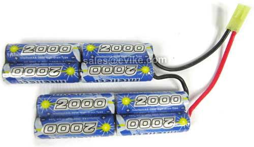 Intellect Custom NiMH Airsoft Battery Pack for Airsoft AEGs (Size: 9.6V 2000mAh / PEQ Box / Small Tamiya)