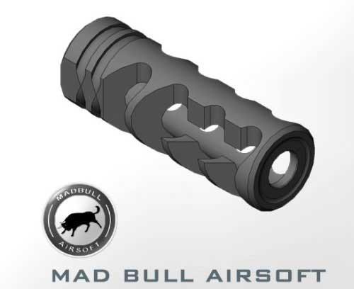Mad Bull DNTC 308 Black 14mm CCW Flashhider for A.E.G.