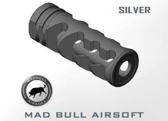 Mad Bull DNTC 308 Silver 14mm CCW Flashhider for A.E.G.