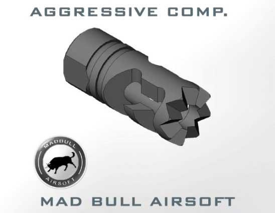 Mad Bull DNTC Aggressive Compensator 14mm CCW Flashhider for A.E.G.