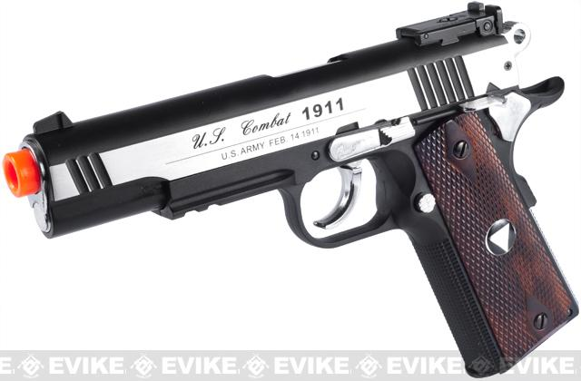 WG Xtreme 45 Full Metal US Combat 1911 Airsoft CO2 Gas Blowback (Color: Stainless Steel Wood)