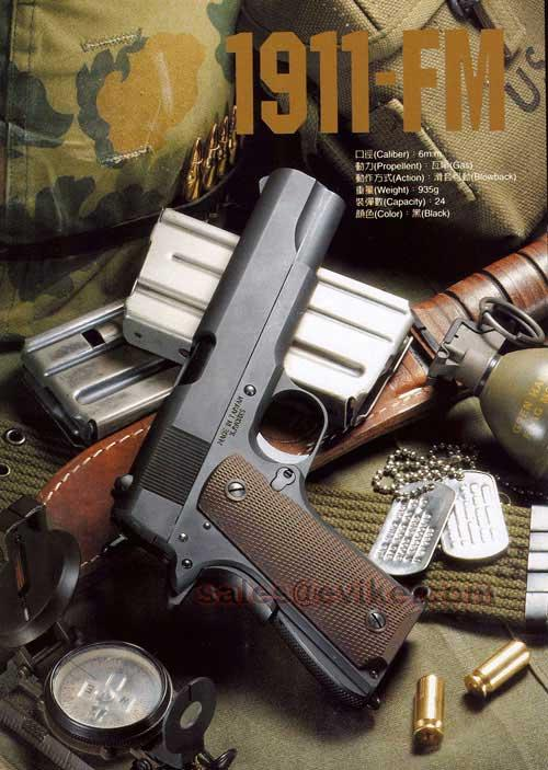 KJW M1911-A1 Full Metal Blowback Pistol (Model: Green Gas)