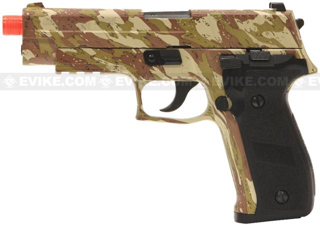 z SoftAir Sig Sauer Licensed KJW P226 Full Metal Airsoft Gas Blowback with Threaded Barrel (Desert Camo)