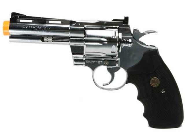 z SoftAir Licensed Colt Python Gas Revolver w/ Trade Mark - 4 Barrel (Silver)