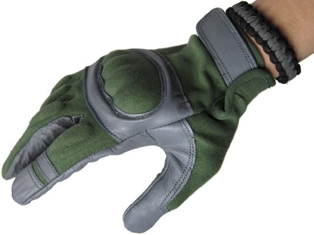 Nomex Hard Shell Knuckle Tactical Gloves - Sage Green (Size: Large)