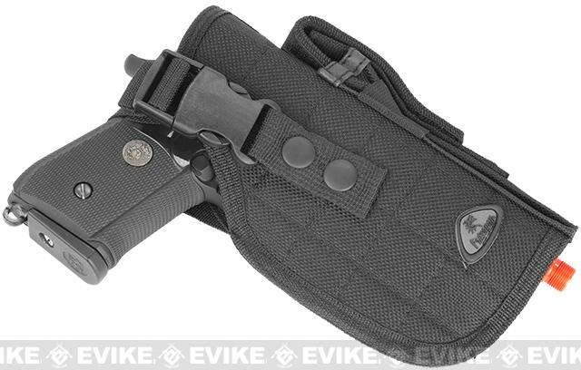 Shooter's Universal Quick Draw Tactical Belt / MOLLE holster w/ Mag pouch - Right Hand (Color: Black)