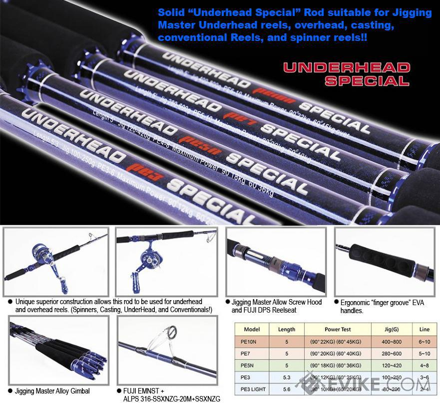 Jigging Master (Spinner & Conventional) Underhead Special Rod (Model: PE3 / 5'3)