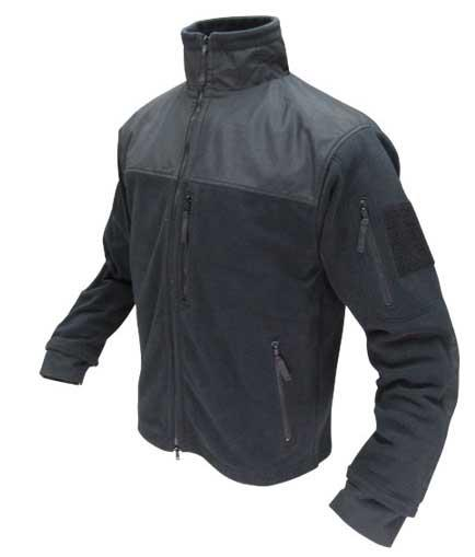 Condor Tactical Fleece Military Cold Weather Jacket - Black (Size: Large)
