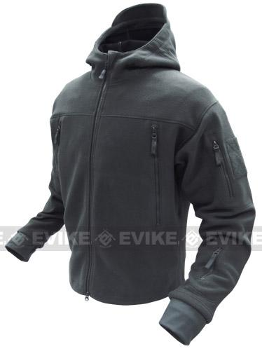 Condor Tactical Sierra Micro Fleece Jacket w/ Hood - Black (Size: Medium)