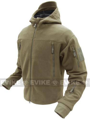 Condor Tactical Sierra Micro Fleece Jacket w/ Hood - Tan (Size: Large)