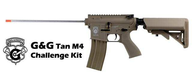 G&G M4 Challenge Kit Electric Blowback Combat Machine Airsoft AEG - Tan (Package: Add 9.6 Butterfly Battery + Smart Charger)