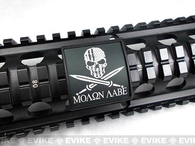 Custom Gun Rails (CGR) Small Laser Engraved Aluminum Rail Cover - Molon Labe with U.S. Skull
