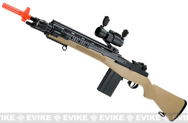 AGM M14 SOCOM Airsoft Spring Powered Rifle Package (Color: Tan)