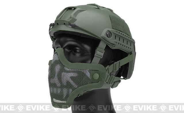 6mmProShop Iron Face Mesh Striker V1 Lower Half Mask for Use with Bump Helmets - OD with Skull