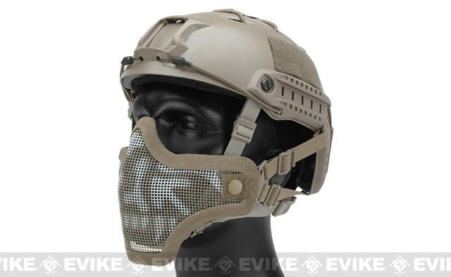 6mmProShop Iron Face Mesh Striker V1 Lower Half Mask for Use with Bump Helmets (Color: Tan / Skull)