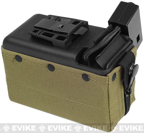 MAG 2500rd M249 Electric Winding Cartridge Pouch w/ Remote Switch (Color: Tan)