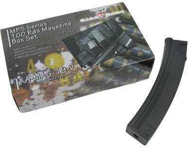 King Arms 100 Round Mid-Cap Magazine for MP5 Series AEGs (Package: Box of 5 )