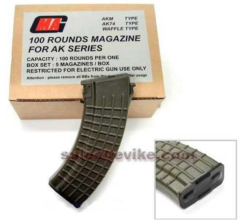 MAG 100 Round Mid-cap Magazine For AK Series Airsoft AEG (Color: OD Green / Waffle / Package of 5)