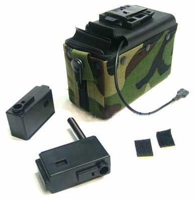Mag 2500rd M249 Electric Winding Cartridge Pouch w/ Remote (Color: Woodland)